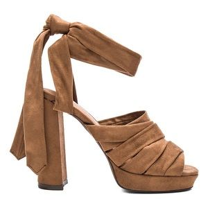 Jeffrey Campbell Chablis ankle wrap heels brown 9